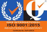ISO 9001:2015 - Quality Management (Certificate No. AUP1255CA)
